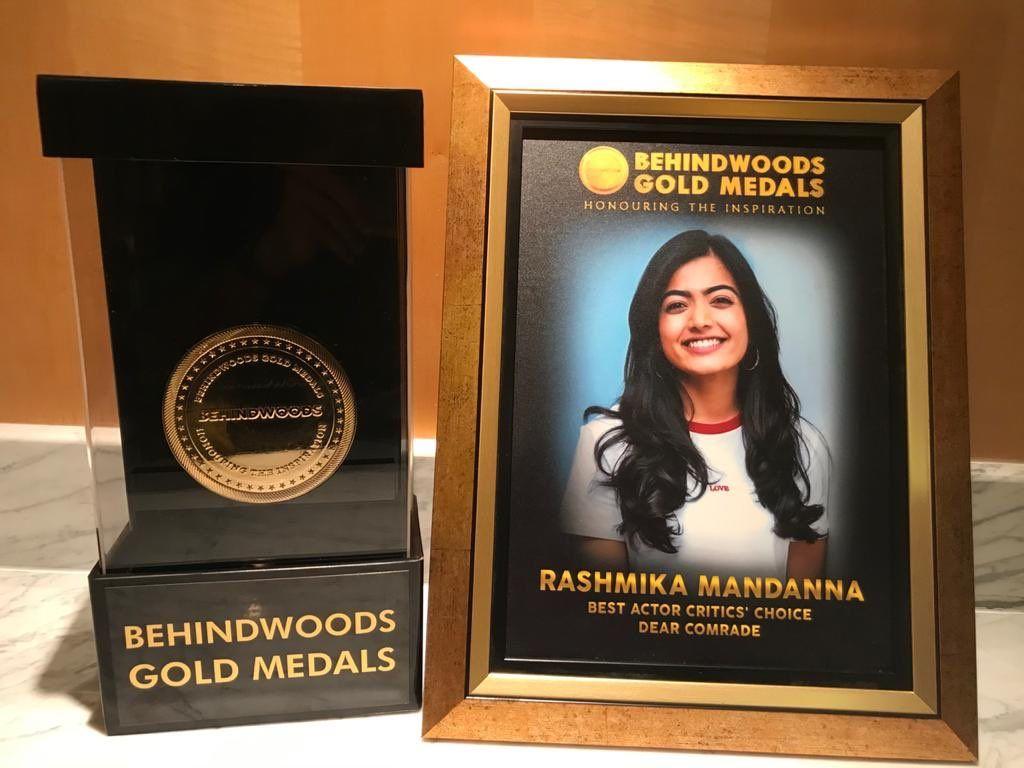 Rashmika mandanna won behindwoods gold medals
