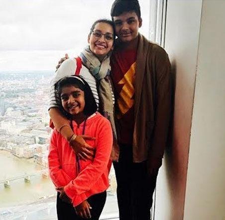 Renu Desai with her children