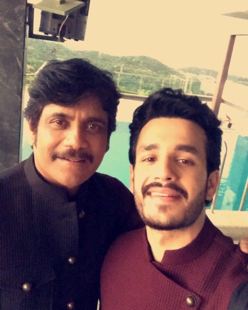 Akhil Akkineni with his father Nagarjuna