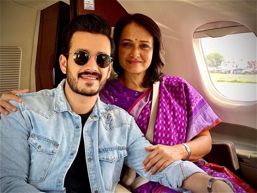 Akhil Akkineni with his mother Amala