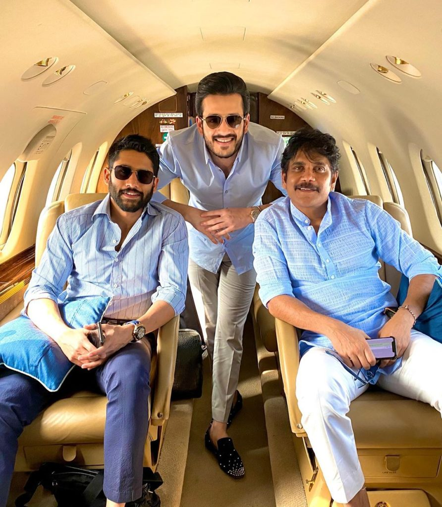 Akhil Akkineni with his father and half-brother