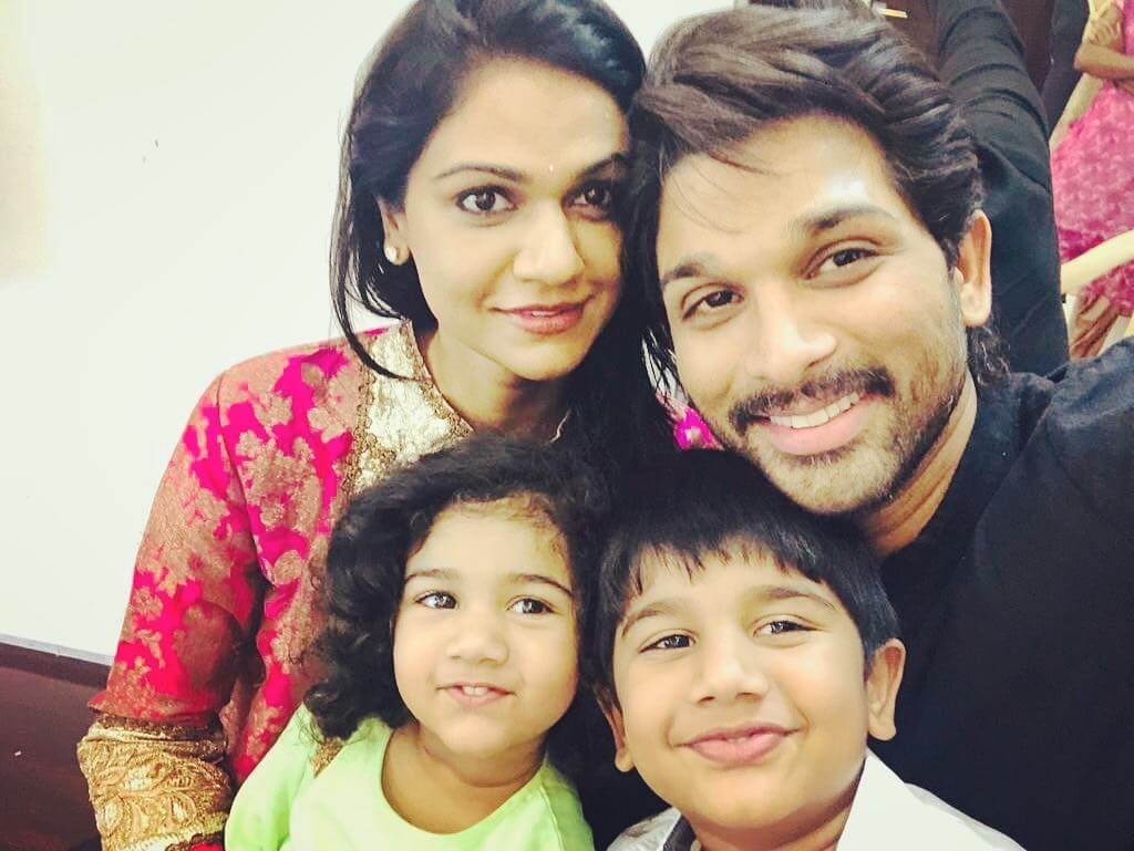 Allu Arjun with his wife and Children's