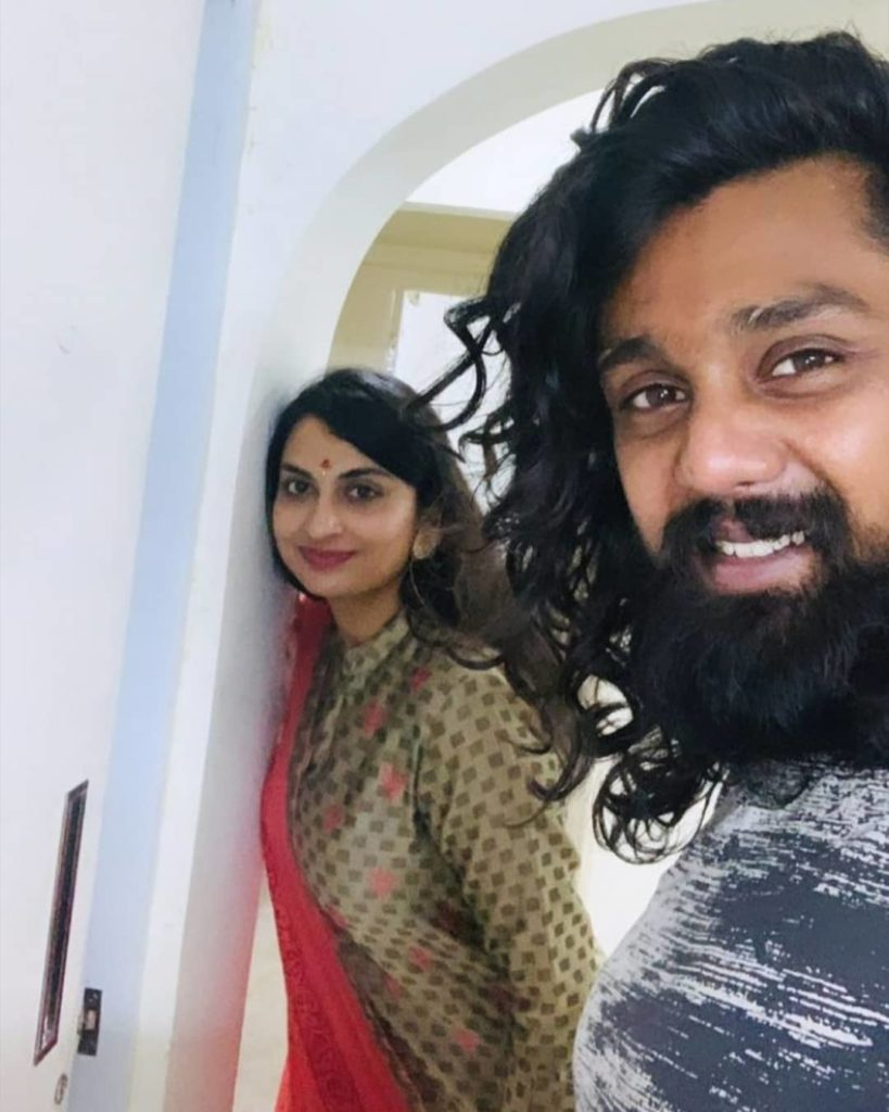 Dhruva Sarja with his wife Prerana