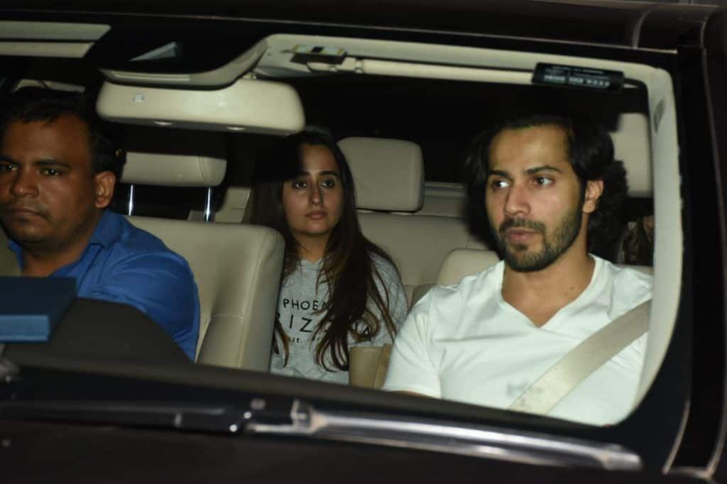 Natasha and Varun Dhawan in car
