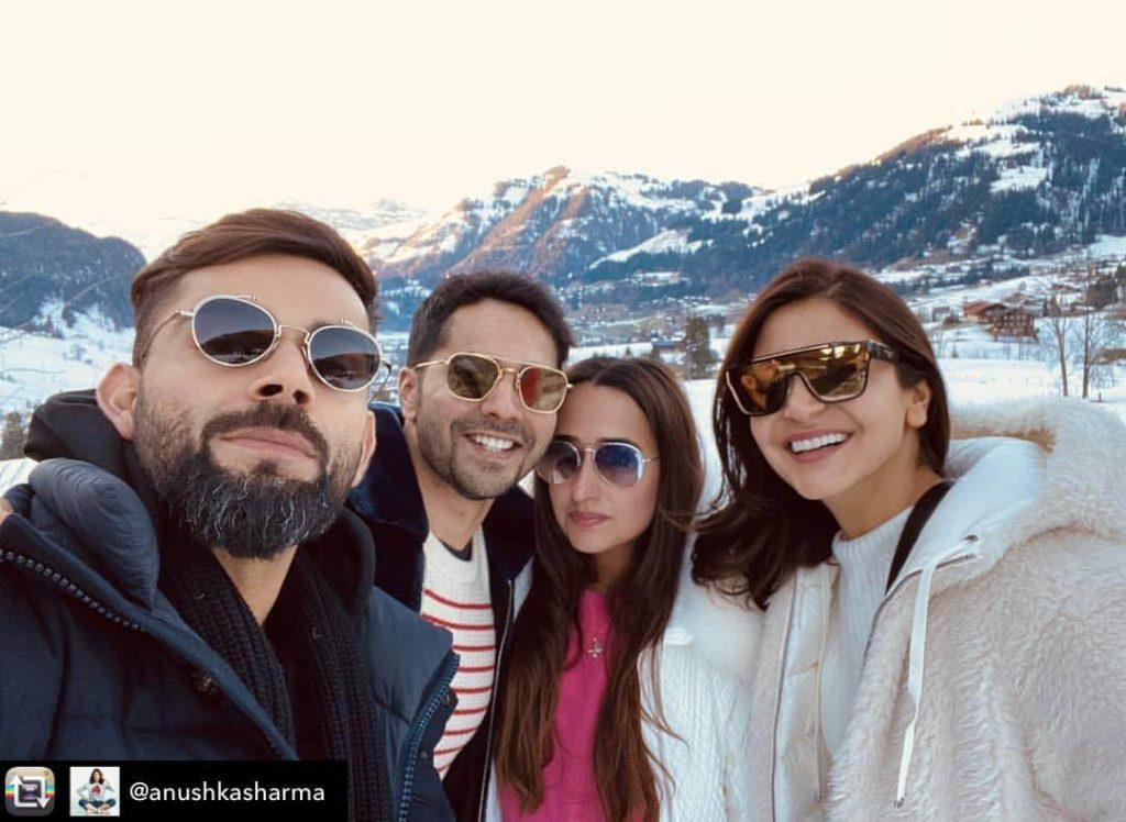Natasha and Varun Dhawan with virat kohli