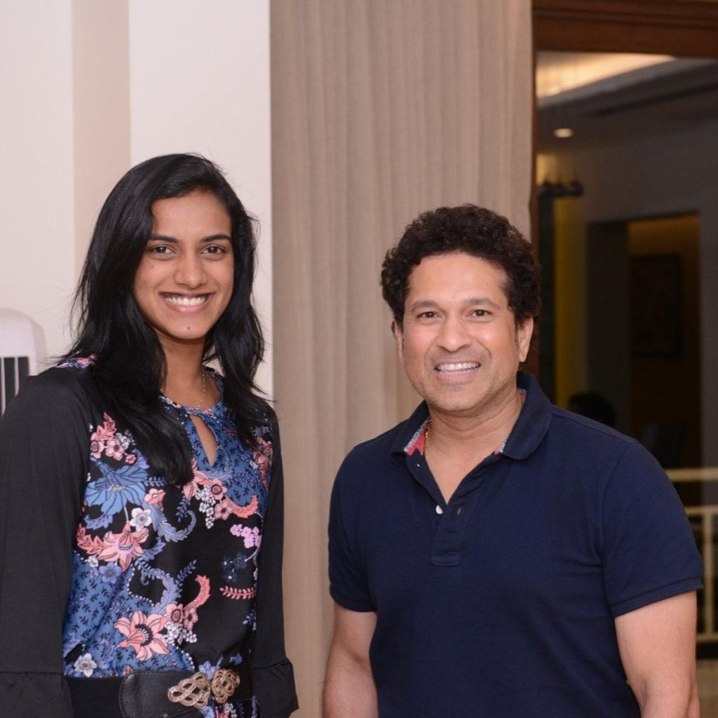 P V Sindhu with Sachin Tendulkar