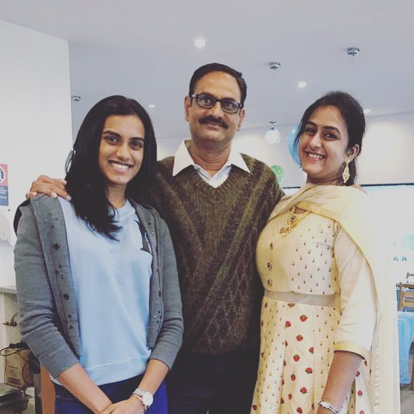 P. V. Sindhu With Her Father and Sister