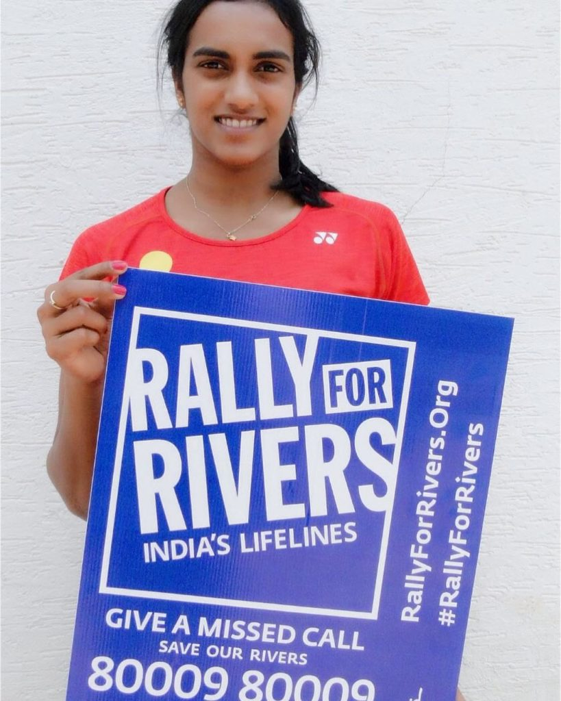 PV Sindhu supporting Rally for Rivers campaign