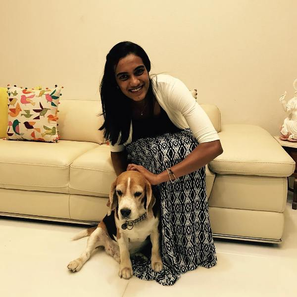 PV Sindhu with dog