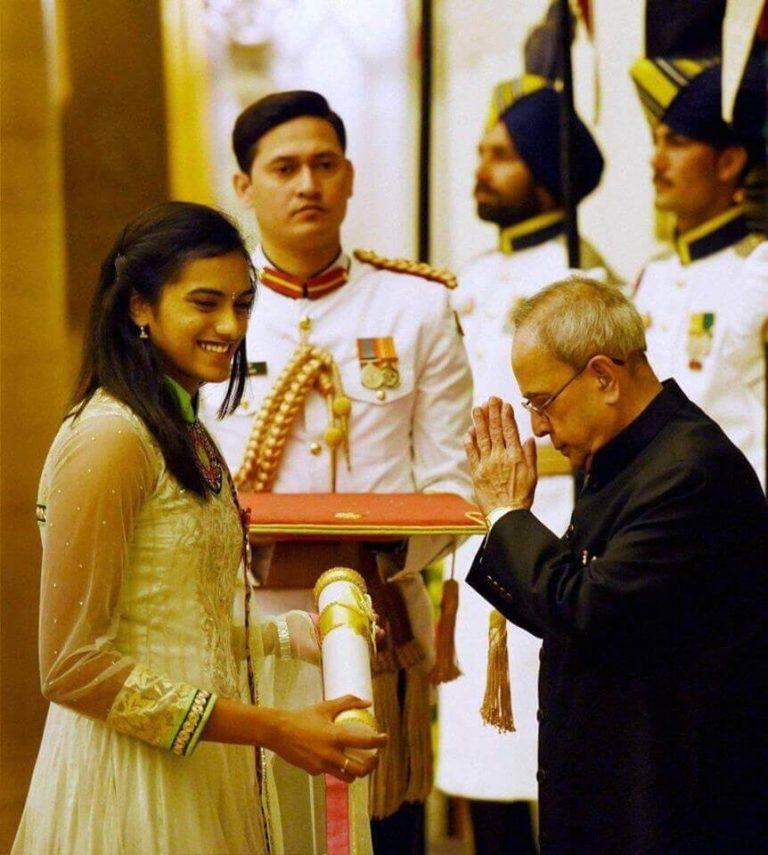 PV Sindhu Receiving Padma Shri