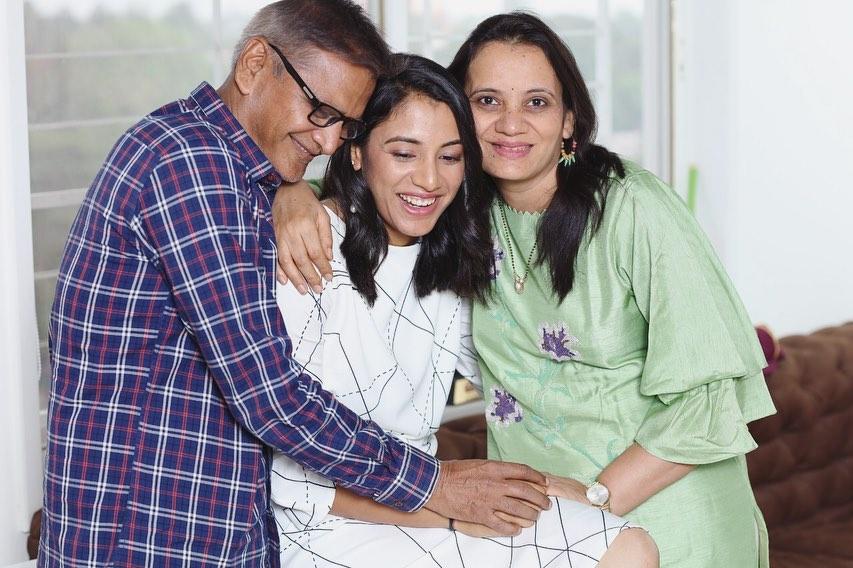 Smriti Mandhana with her parents