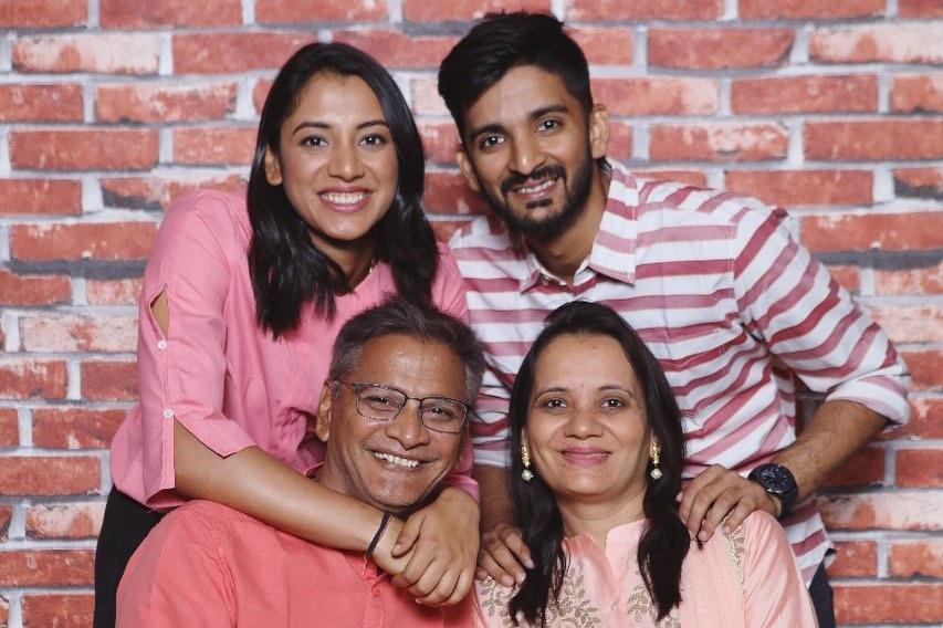 Smriti Mandhana with her family