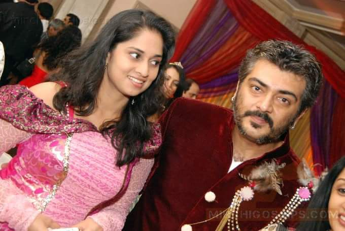 Ajith Kumar with his wife Shalini