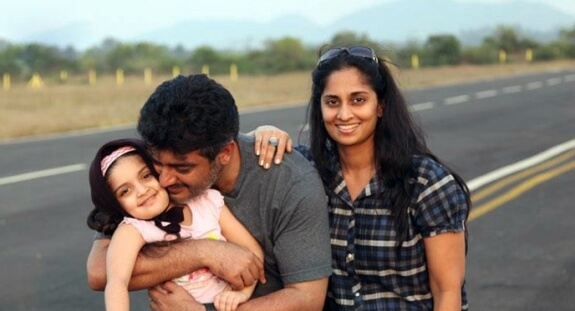 Ajith Kumar with his wife and daughter