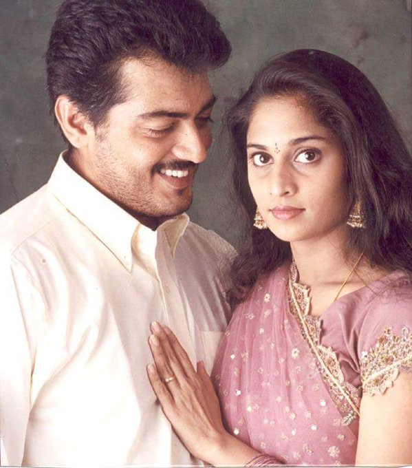 Ajith Kumar with his wife