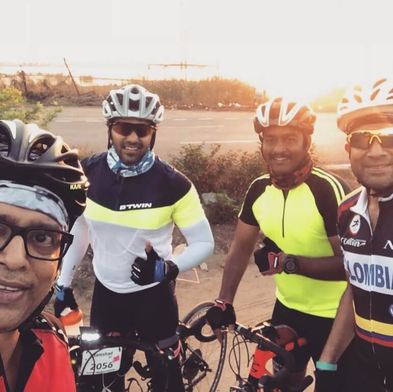 Arya cycling with his friends