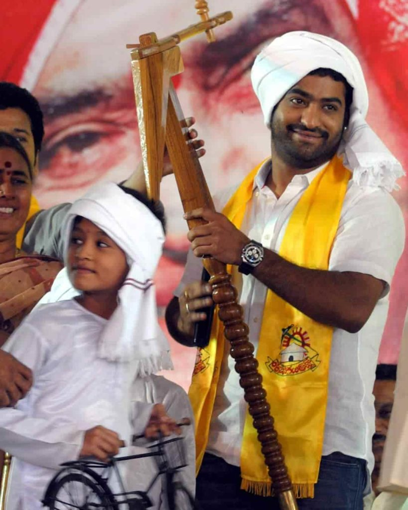 Jr. NTR while campaigning for Telugu Desam Party
