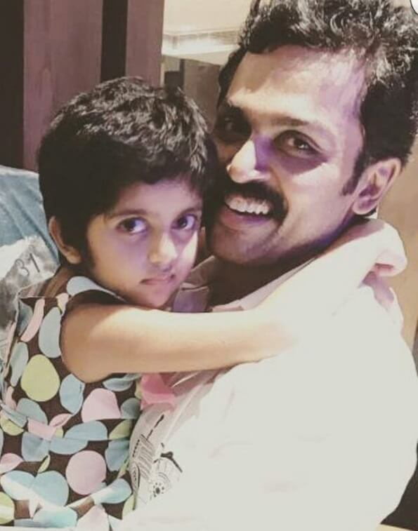Karthi with his daughter