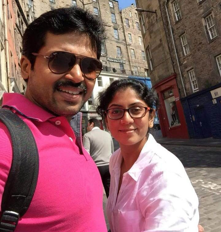 Karthi with his wife Ranjani Chinnaswamy