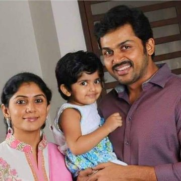 Karthi with his wife and daughter
