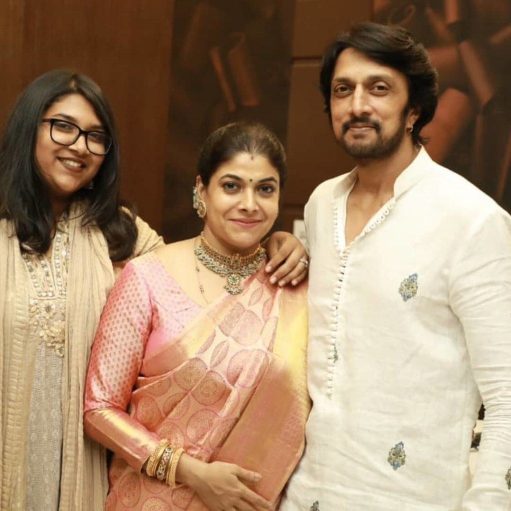 Sudeep with his Wife and Daughter