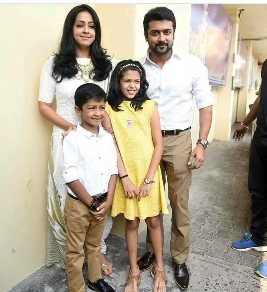 Suriya with his wife and childrens