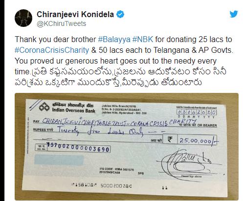 chiranjeevi thanks balakrishna for donating Rs 25 lakhs corona crisis charity