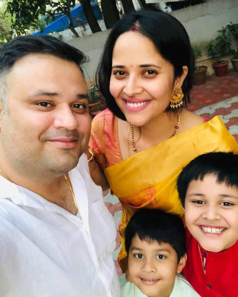 Anasuya with her Husband and Children's