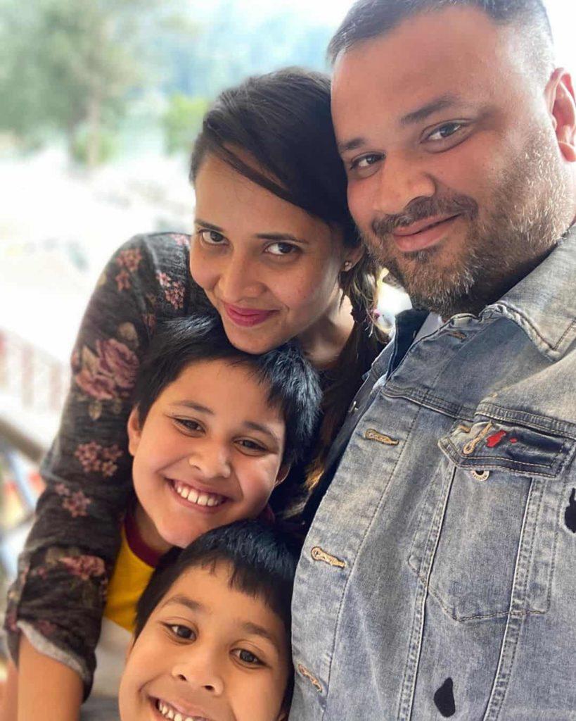Anasuya with her Husband and Son's