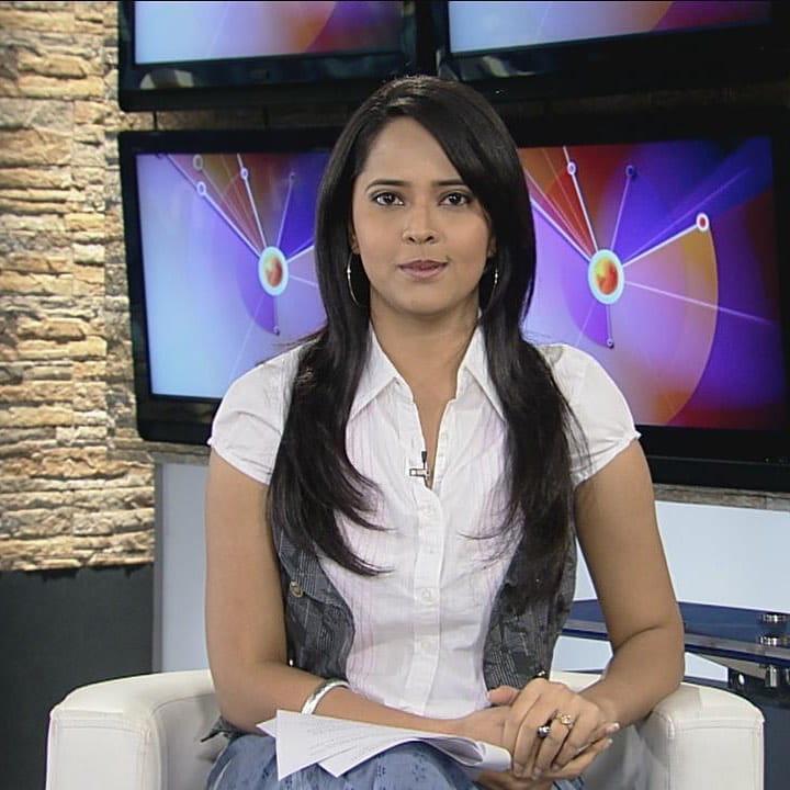 Anasuya working in Sakshi TV