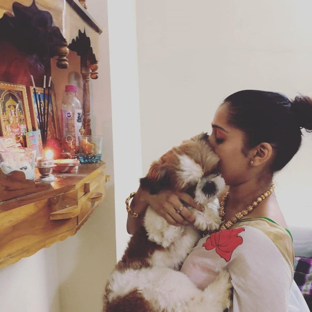 Rashmi Gautam with her pet dog