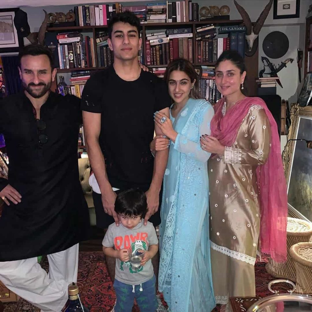 Sara Ali Khan with her Father and Step Mother