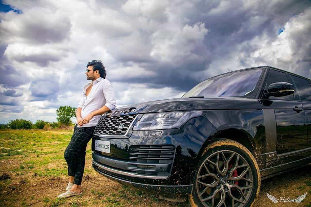 Bellamkonda Sreenivas with his Car