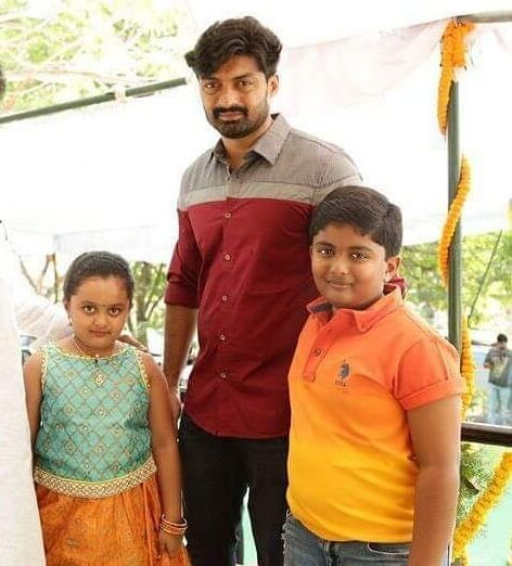 Kalyan Ram with his Son and Daughter
