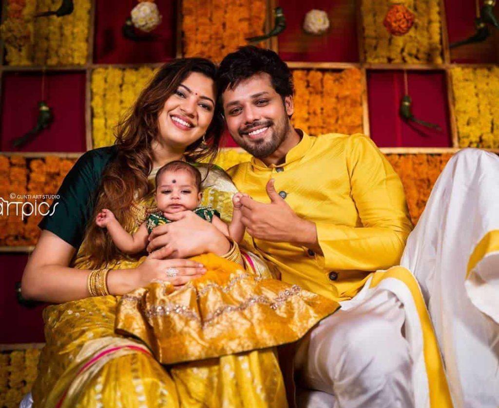 Nandu with his Daughter Daakshaayani Prakruthi and wife