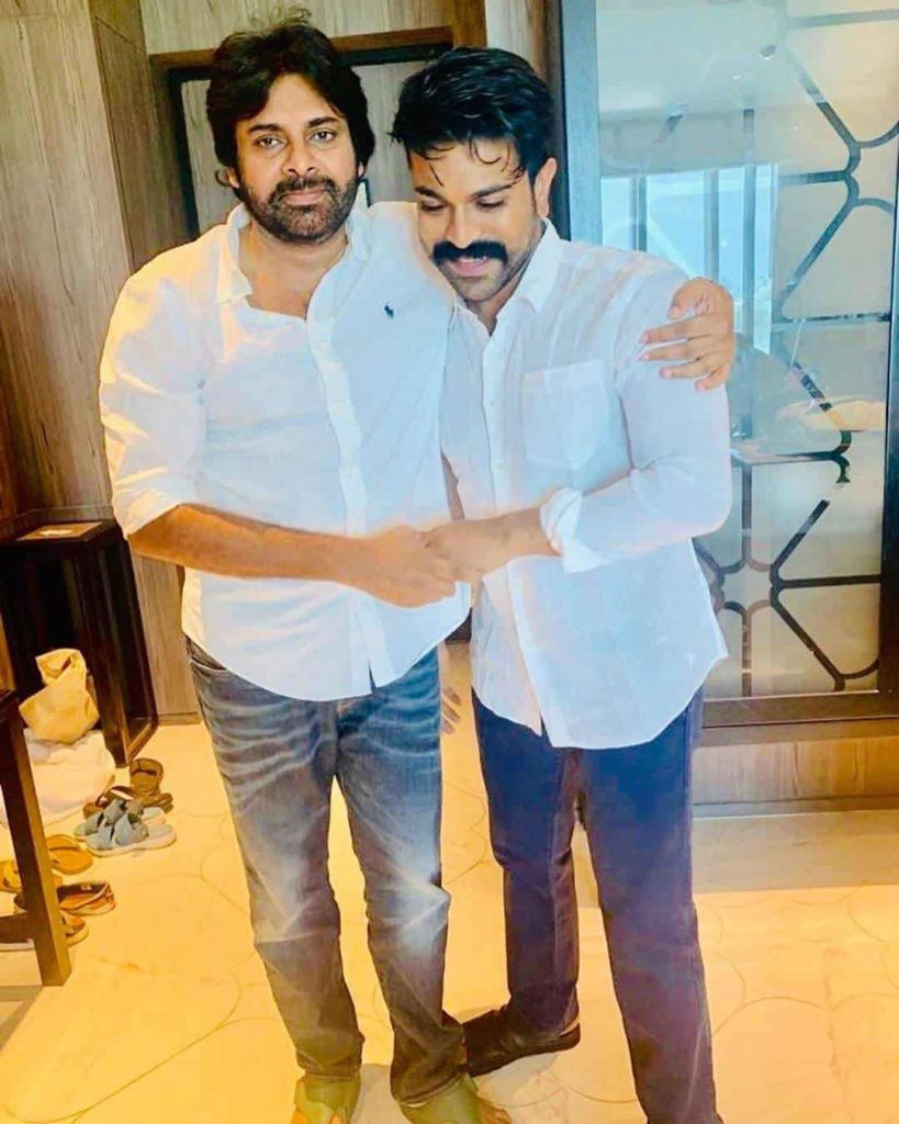 Ram Charan with his Uncle Pawan Kalyan