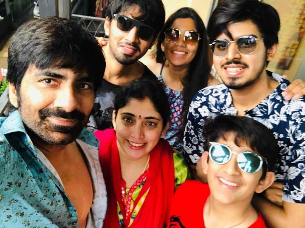 Ravi Teja with his Wife Kalyani Teja and Family