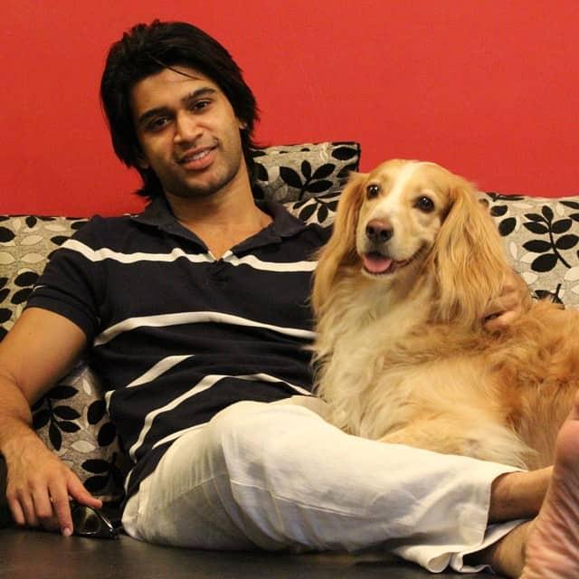 Abijeet Duddala With His Pet Dog, Bobo