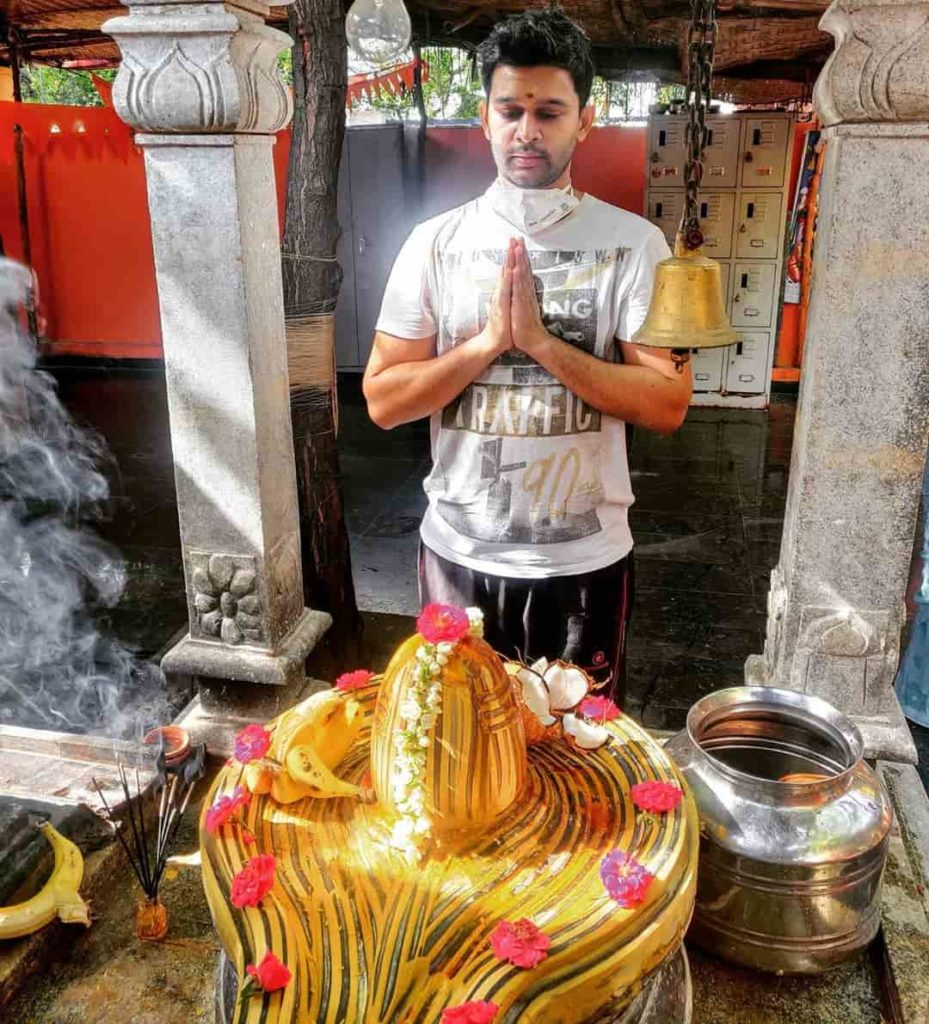Abijeet Duddala in a Shiva Temple
