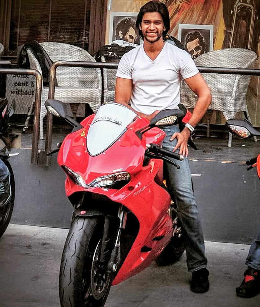 Abijeet with his Ducati motorcycle